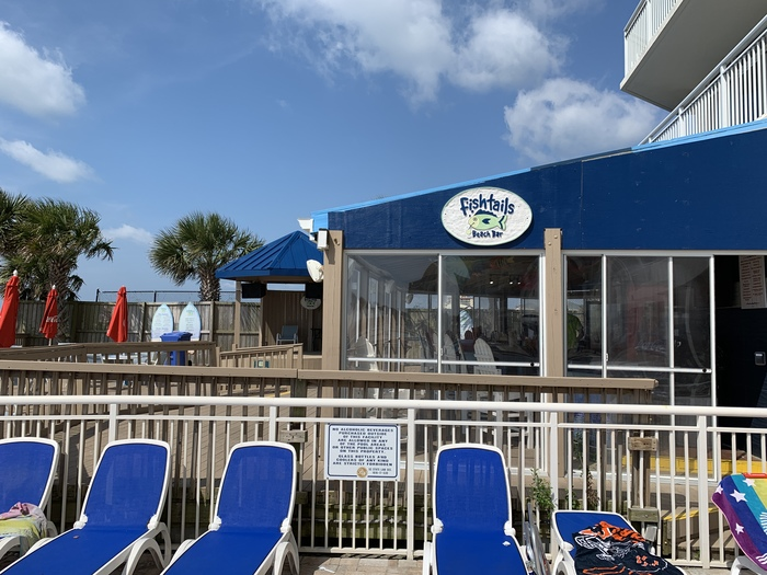 Fishtails Beach Bar and Grill with music, seasonal